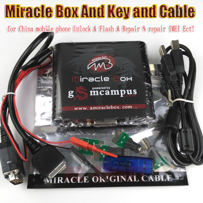 Original Miracle box +Miracle key with cables (2 38A hot update) for china  mobile phones Unlock+Repairing unlock